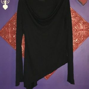 New York & Co Black Long Sleeve Asymmetrical Shirt